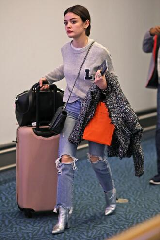 sweater jeans denim lucy hale boots fall outfits shoes metallic shoes