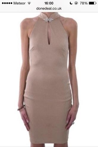 dress backless nude dress bodycon dress