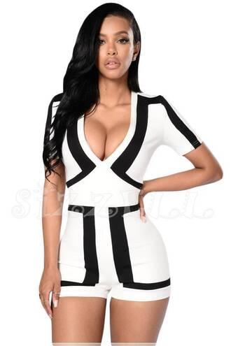 shorts jumpsuit romper colorblock white romper white black white dress dress black heels black and white shorts black and white dress