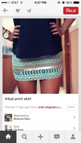skirt mini skirt gold blue skirt tribal pattern turquoise