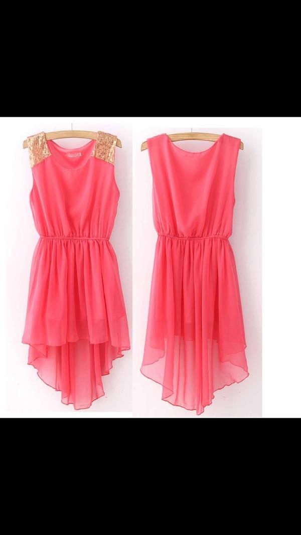 dress high low pink dress