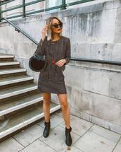 skirt,mini skirt,high waisted skirt,booties,jacket,handbag,sunglasses,earrings