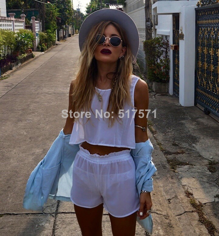 Womens hot sale 2014 white aurora twin set chiffon mesh sheer crop top t shirt and shorts 2pcs sets