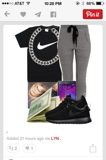 shirt black t-shirt nike air white t-shirt pants