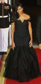dress,gown,black dress,long dress,Michelle Obama,bustier dress,off the shoulder,first lady outfits