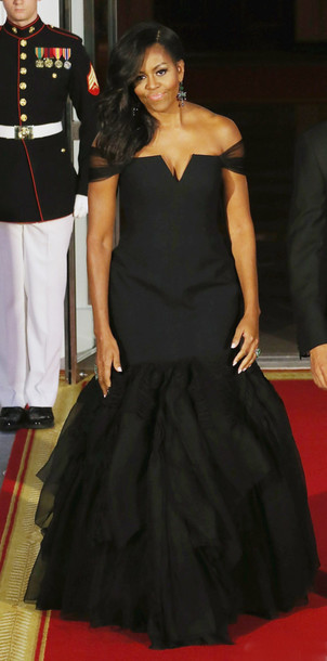 Dress Gown Black Dress Long Dress Michelle Obama Bustier Dress