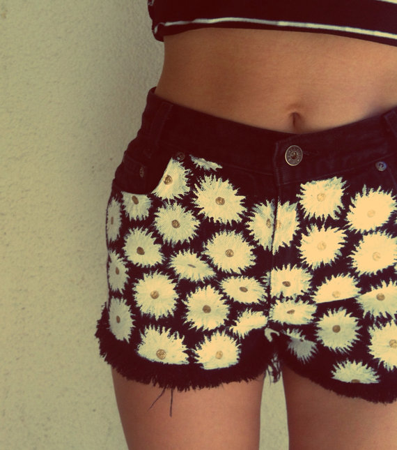 Black Daisy High Waisted Shorts by NovaClothing on Etsy