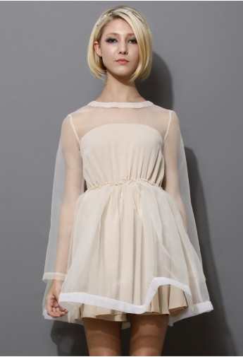 Dreamy Sheer Crepe Panel Dress in Nude - Retro, Indie and Unique Fashion