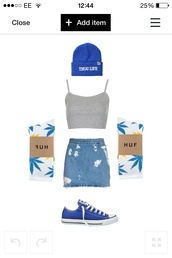 skirt,blue denim,tank top,hat,shoes,underwear