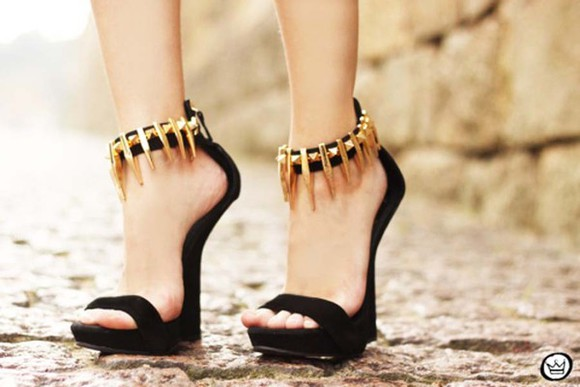 shoes stud Choies wedges sandals golden black wedges