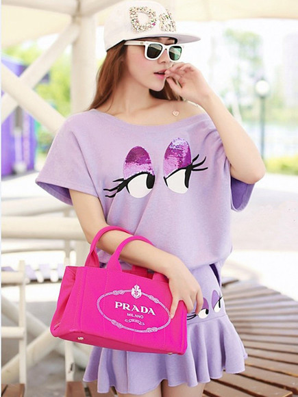 purple purple dress t-shirt shirt mini dress spring fashion korean outwear