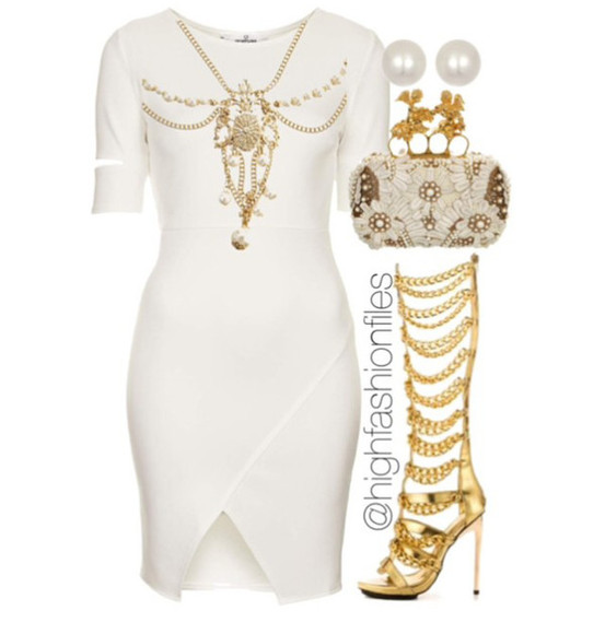white dress white and gold dress chain gold heels pearls