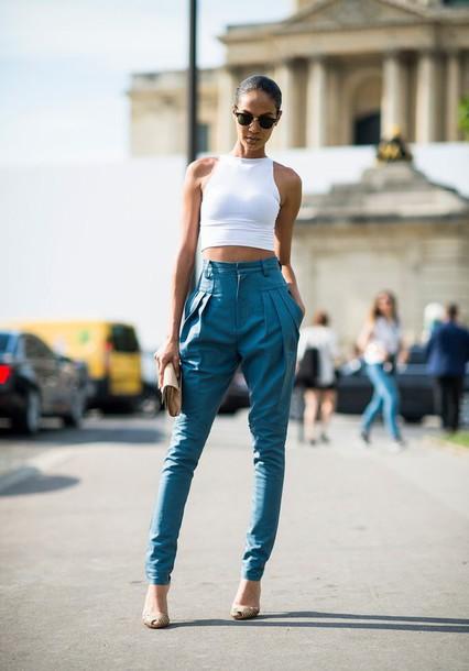 pants blue pants high waisted pants
