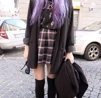 coat indie alternative grunge soft grunge flannel tartan top skirt