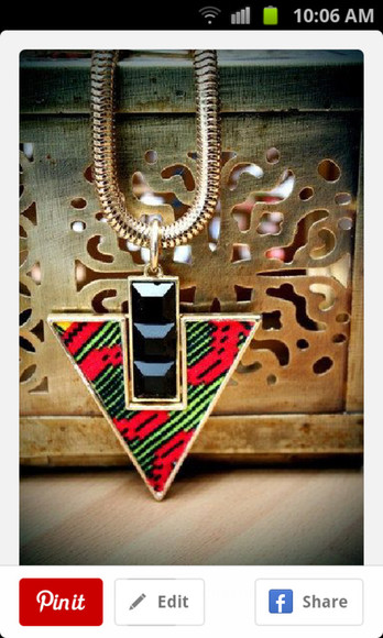 jewels triangle necklace tribal pattern red necklace