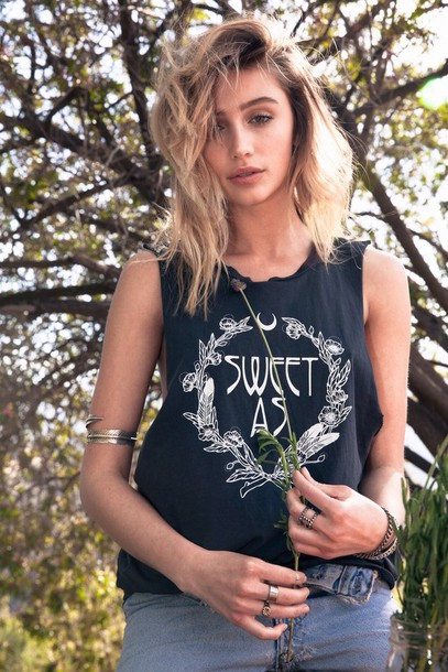 tank top cailin russo sweet black white summer