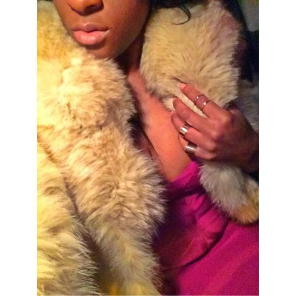 jacket fur coat gold ring jewels