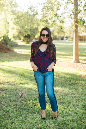 adoredbyalex blogger top shoes jewels sunglasses fall outfits blouse