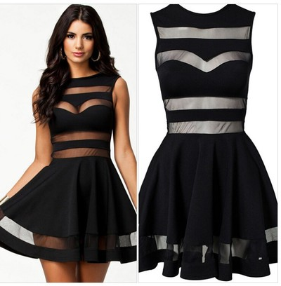 Sexy Black Sheer Cut Outs Skater Skirt Dress - ( 3 COLOURS)-  Free Shipping world-wide  · EBONY LACE FASHION BOUTIQUE · Online Store Powered by Storenvy