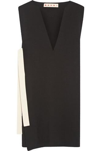 tunic wool black top