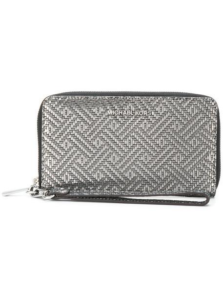women purse leather grey metallic bag