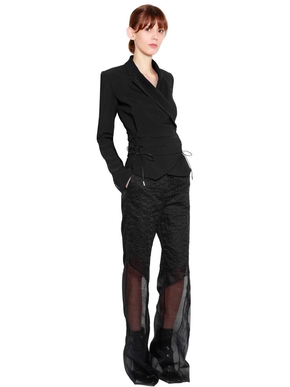ANTONIO BERARDI Wrap Cady Jacket With Ties in black