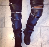 pants,lether,zip,black,black timberlands,clothes,weather,shoes,zipped pants,tumblr clothes,jeans,leather,black pants,kanye west,yeezus