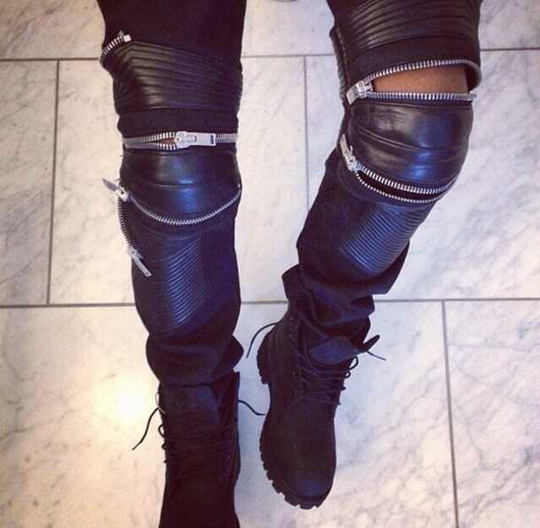 pants lether zip black black timberlands clothes weather shoes zipped pants tumblr clothes jeans leather zip black pants zipped pants kanye west yeezus