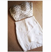 jewels,two-piece,bodycon,boobtube,top,embellished dress,beaded dress,bodycon dress,co ord,strapless top,bandage dress,bandage skirt,cream dress,crop tops,fashion,clubwear,party,party dress,beautiful,white dress,dress,skirt