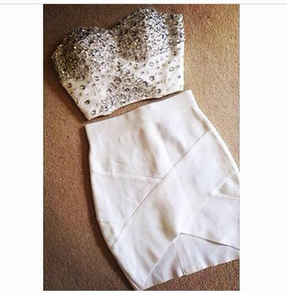 white dress cream dress bodycon dress fashion jewels two piece studed crop top and skirt 2 piece outfit co ord co ordinates strapless top bandage dress bandage skirt crop tops clubwear clubbing outfits party party dress christmas celebrity style beautiful bodycon dress two-piece boobtube