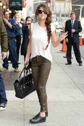 jeans,clothes,shoes,bag,t-shirt,khaki pants,casual,selena gomez,white vest,leather pants,denim