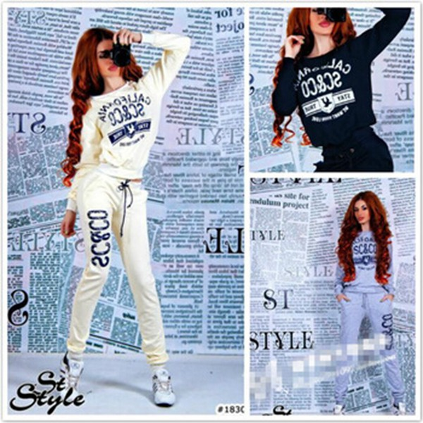 sweatshirt two-piece letter print o neck pullover pants casual long sleeves tracksuit soprtwear women winter snow boots