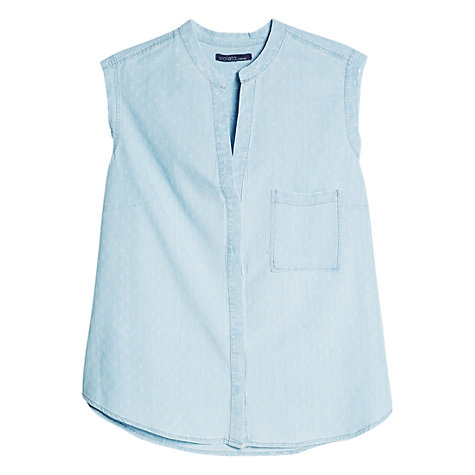 Buy Violeta by Mango Rhombus-Patterned Denim Shirt, Light Pastel Blue | John Lewis