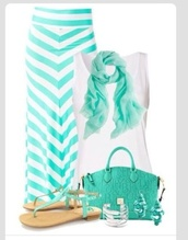 skirt,shirt,jewels,scarf,tank top,shoes,chevron,chevron maxi skirt,mint,mint scarf,maxi,sandals,maxi skirt