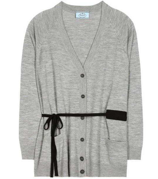 Prada cardigan cardigan wool grey sweater