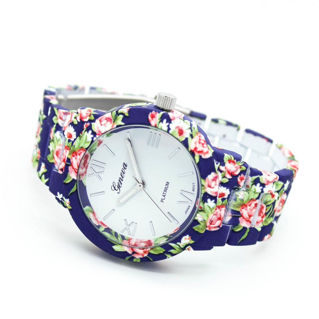 Flower print watch
