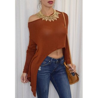 top rose wholesale high low off the shoulder trendy
