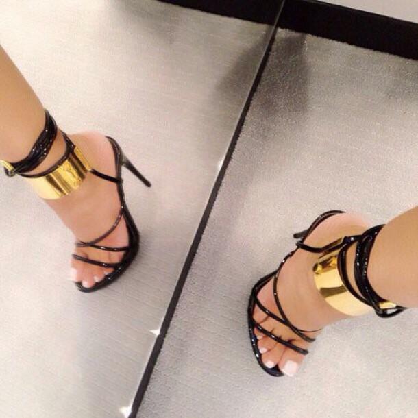 shoes black gold heels lace high heels black heels girly girl strappy cute black dress