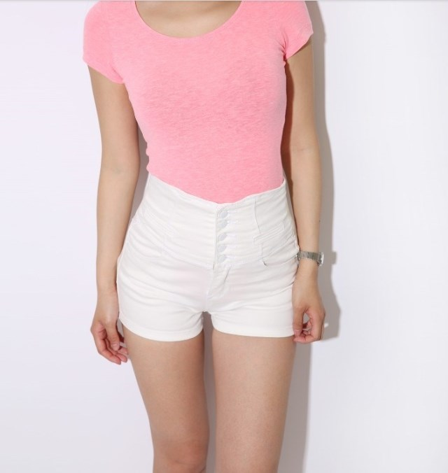 2013 women female lady's vintage high waist back laced lace fasten denim shorts jeans hot stretch short pants botton up hotpants-in Shorts from Apparel & Accessories on Aliexpress.com | Alibaba Group