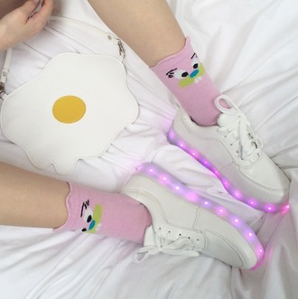 shoes white cute sweet kawaii pink egg grunge soft grunge clutch pastel pale joanna kuchta charlie barker bag tenis glow in the dark