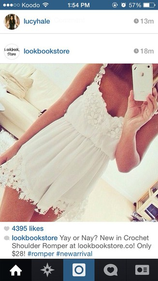 white dress girly summer dress romper style fashion lace short dress