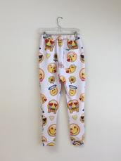 pants,emoji print,swag,fashion,winter outfits,cozy,fleece,emoji pants