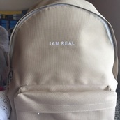 bag,tumblr,nude,backpack,beige,white,am,real,black dress,white t-shirt,tan,bookbag