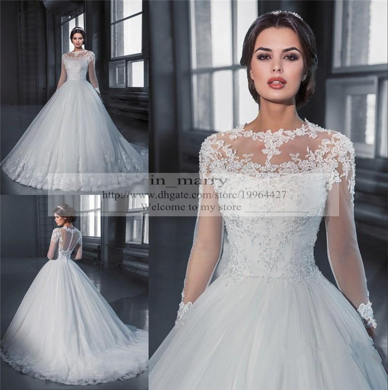 Long Sleeves Vintage Lace Wedding Dresses 2015 A Line High Neck ...