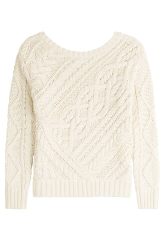 pullover knit cotton white sweater