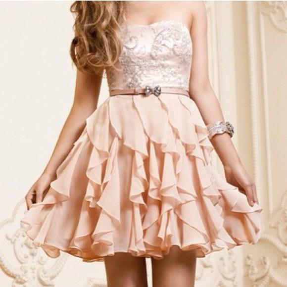 cute dress nude pastel pink