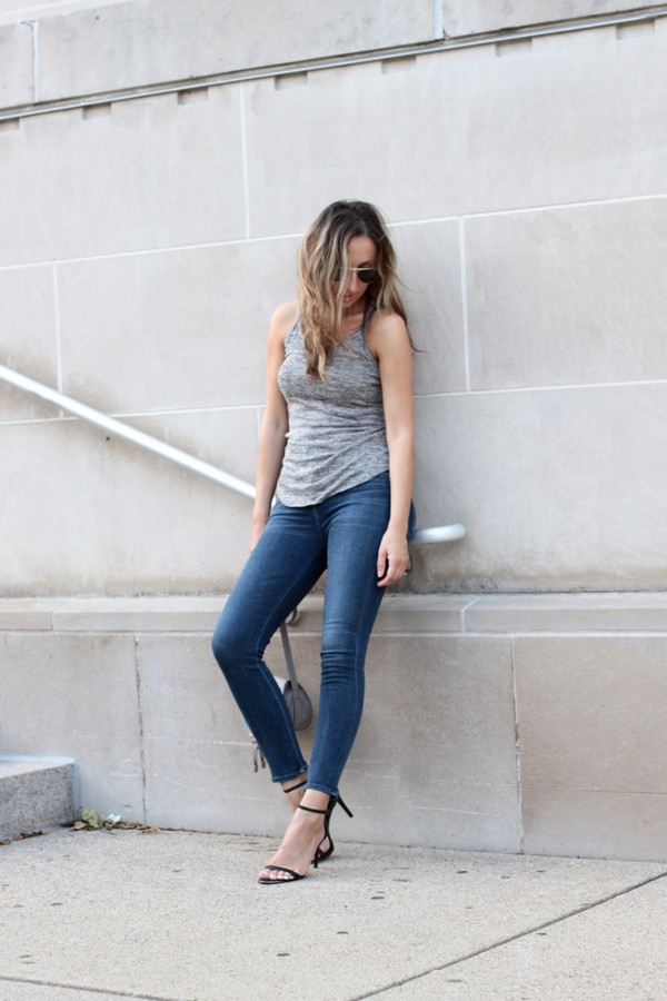 lilly style blogger jeans tank top shoes bag sunglasses