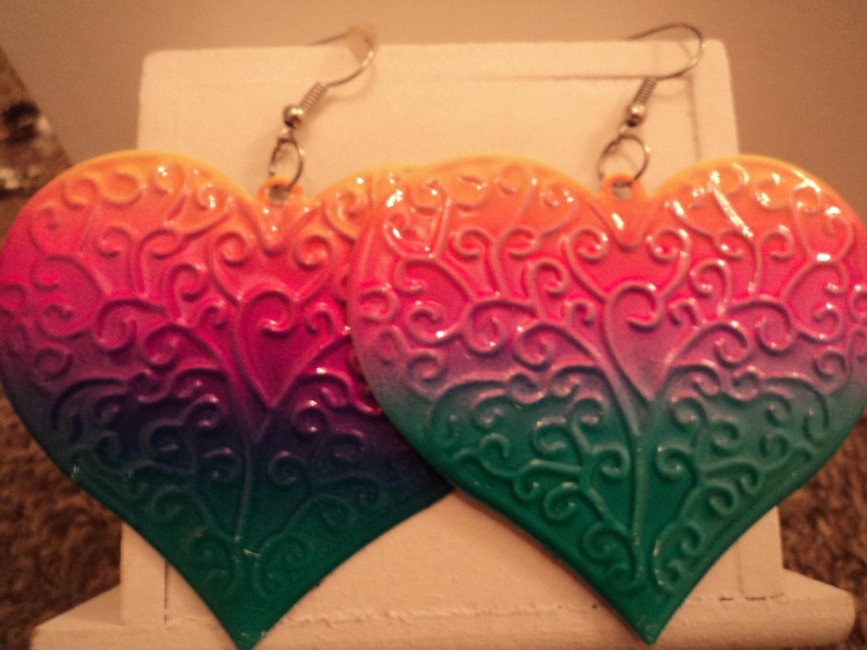 Rainbow coloured patterned large heart dangle earrings