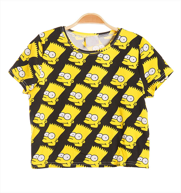 2013 Fashion Women Cartoon Print Bart Simpson Shirt Lady Loose Short
