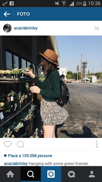 dress acacia brinley floral dress fall outfits fall dress cactus plants summer dress skirt green sweater brown hat brinley green sweater green skirt brown hat hipster cute floral